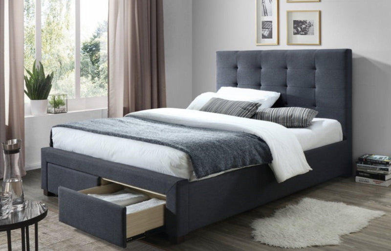 HARLEY Dark Grey Fabric Storage Bed Frame Bed Frame Bedroom Factory