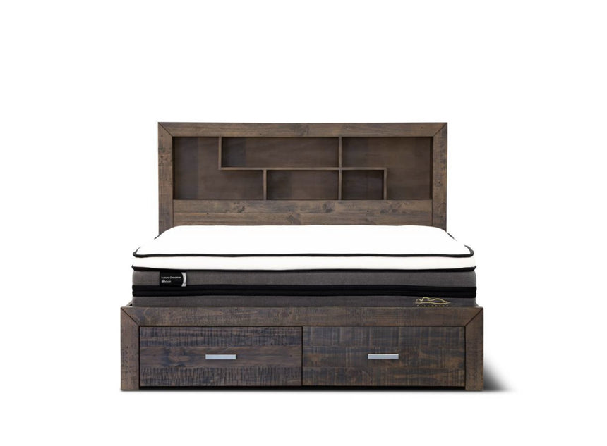 STORM deep brown pine wooden storage bed frame