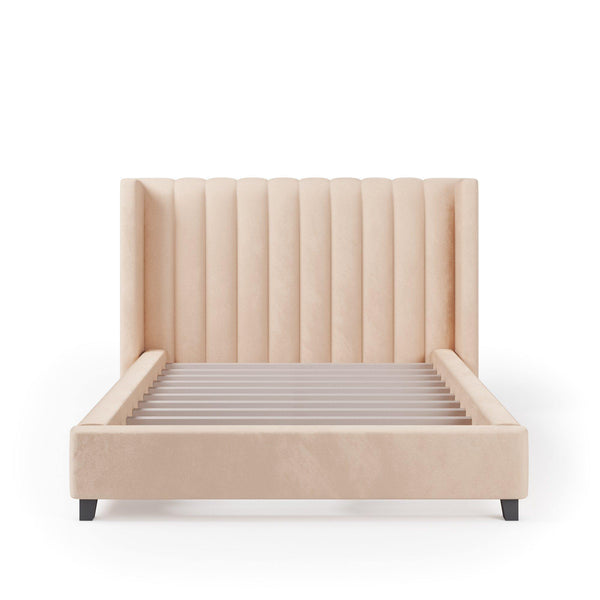 VALANCE Velvet Plush Bone Fabric Bed Frame (Australian Made)