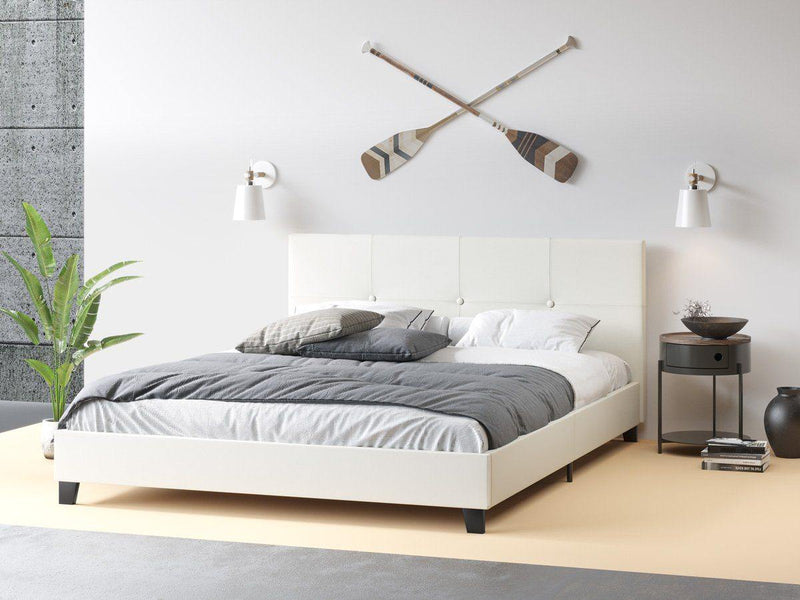 MILEY White Leather Look Bed Frame