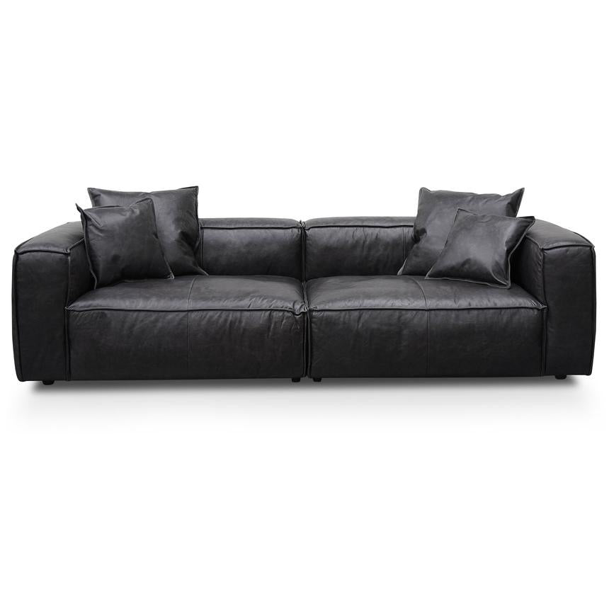 CHUNKY 3 Seater Sofa with Cushion and Pillow - Charcoal Leather