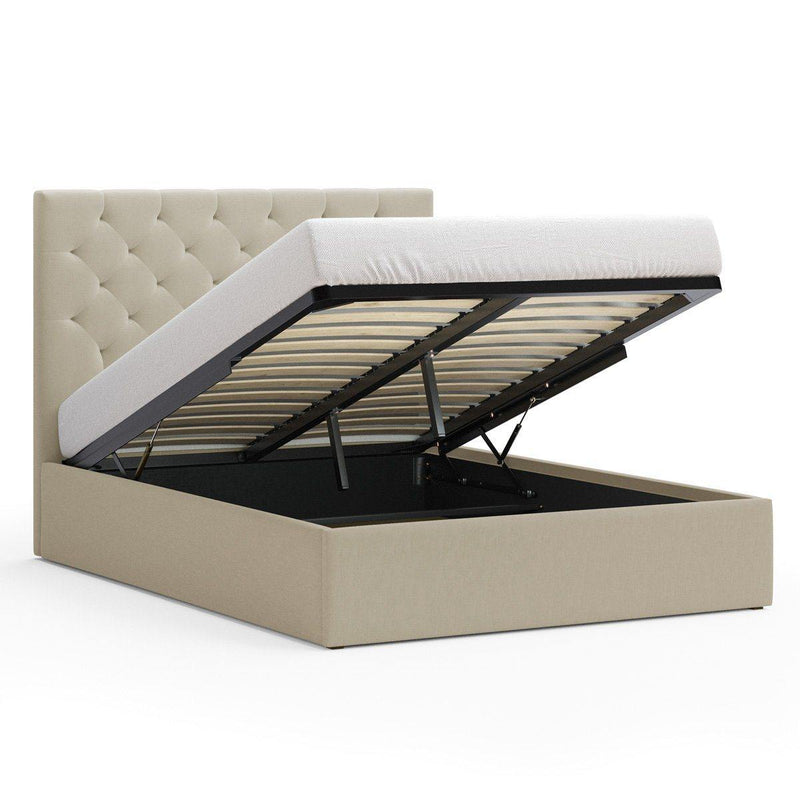 PRINCE Beige Fabric Gas Lift Bed Frame