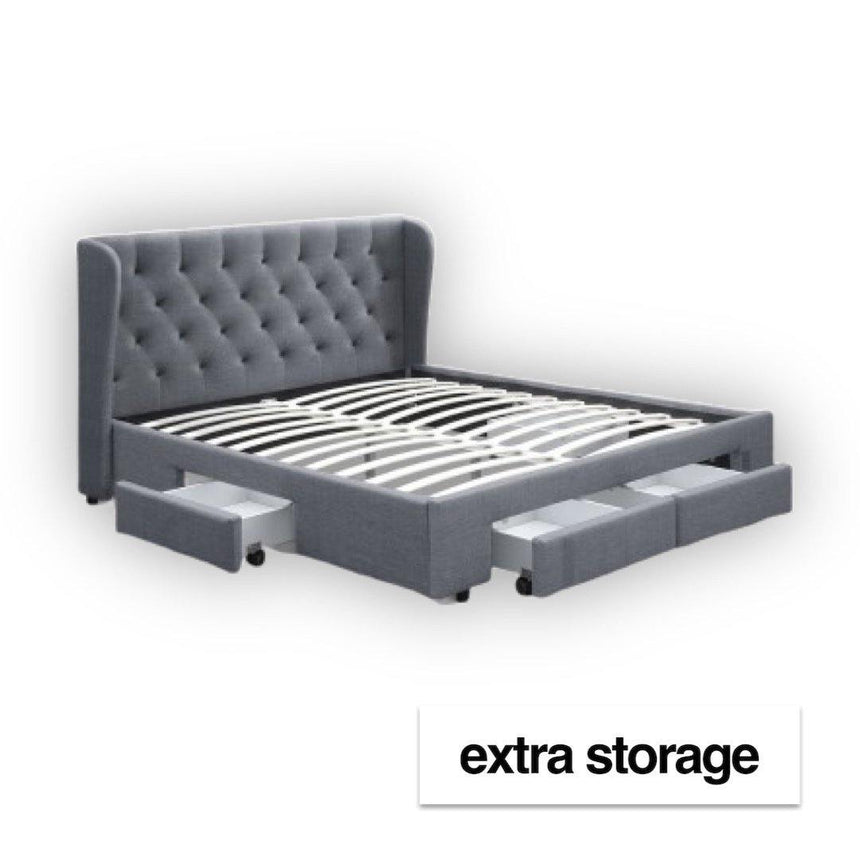 GRANDE Grey Fabric storage Bed Frame Bed Frame Bedroom Factory