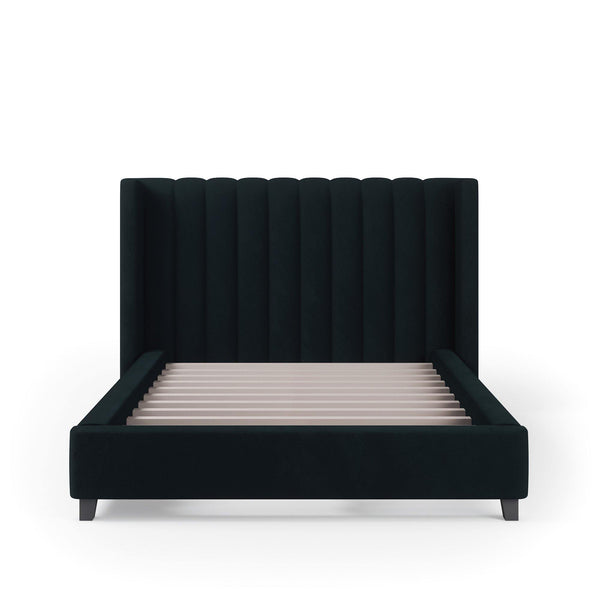 VALANCE Velvet Plush Jet Black Fabric Bed Frame (Australian Made)