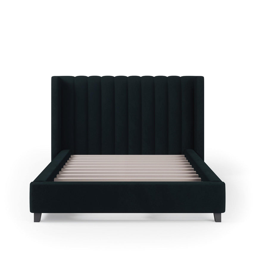 VALANCE Velvet Plush Jet Black Fabric Bed Frame (Australian Made) Bed Frame Bedroom Factory