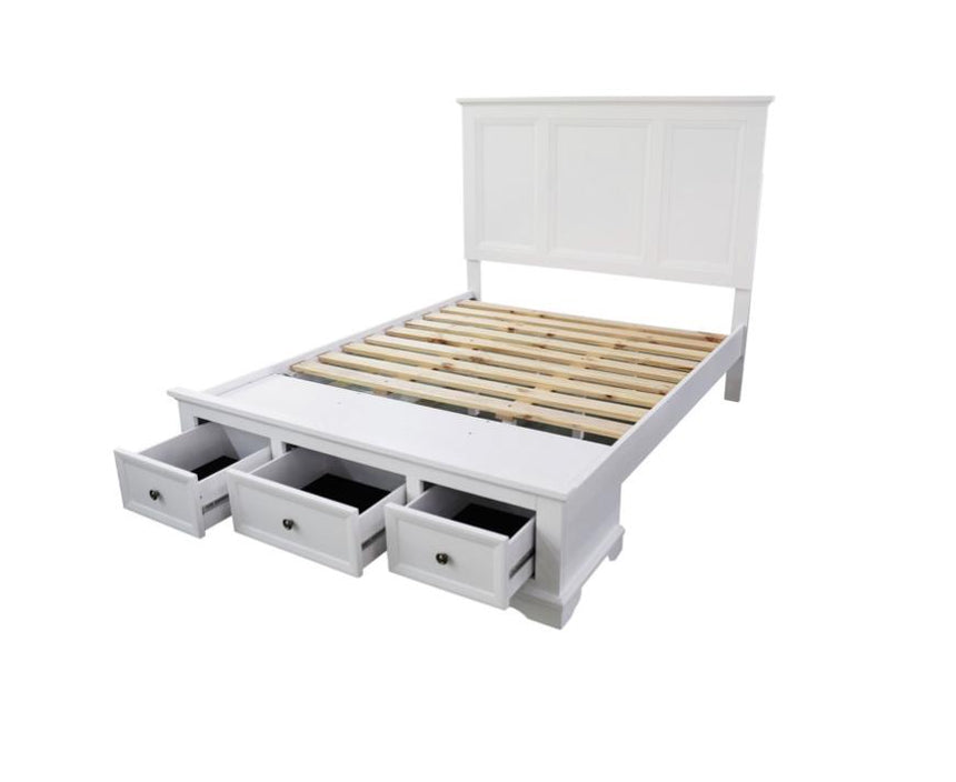 MOEY white wooden storage bed frame WYLD HOME