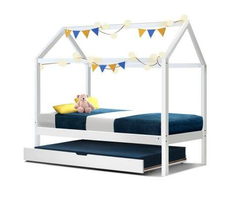 AMBER With Trundle White Wood Single Bed Frame Bed Frame Bedroom Factory