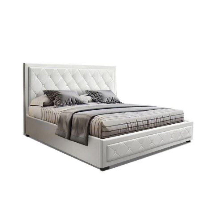 ARLA White Leather Look Gas Lift Bed Frame Bed Frame Bedroom Factory