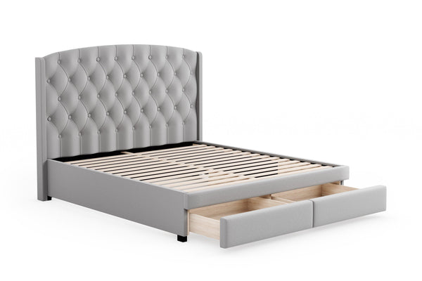 PRESTIA Light Grey Fabric Storage Bed Frame Bed Frame Bedroom Factory
