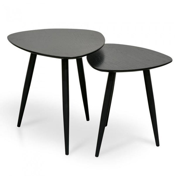 YAY Black Oak Veneer Set of Side Tables
