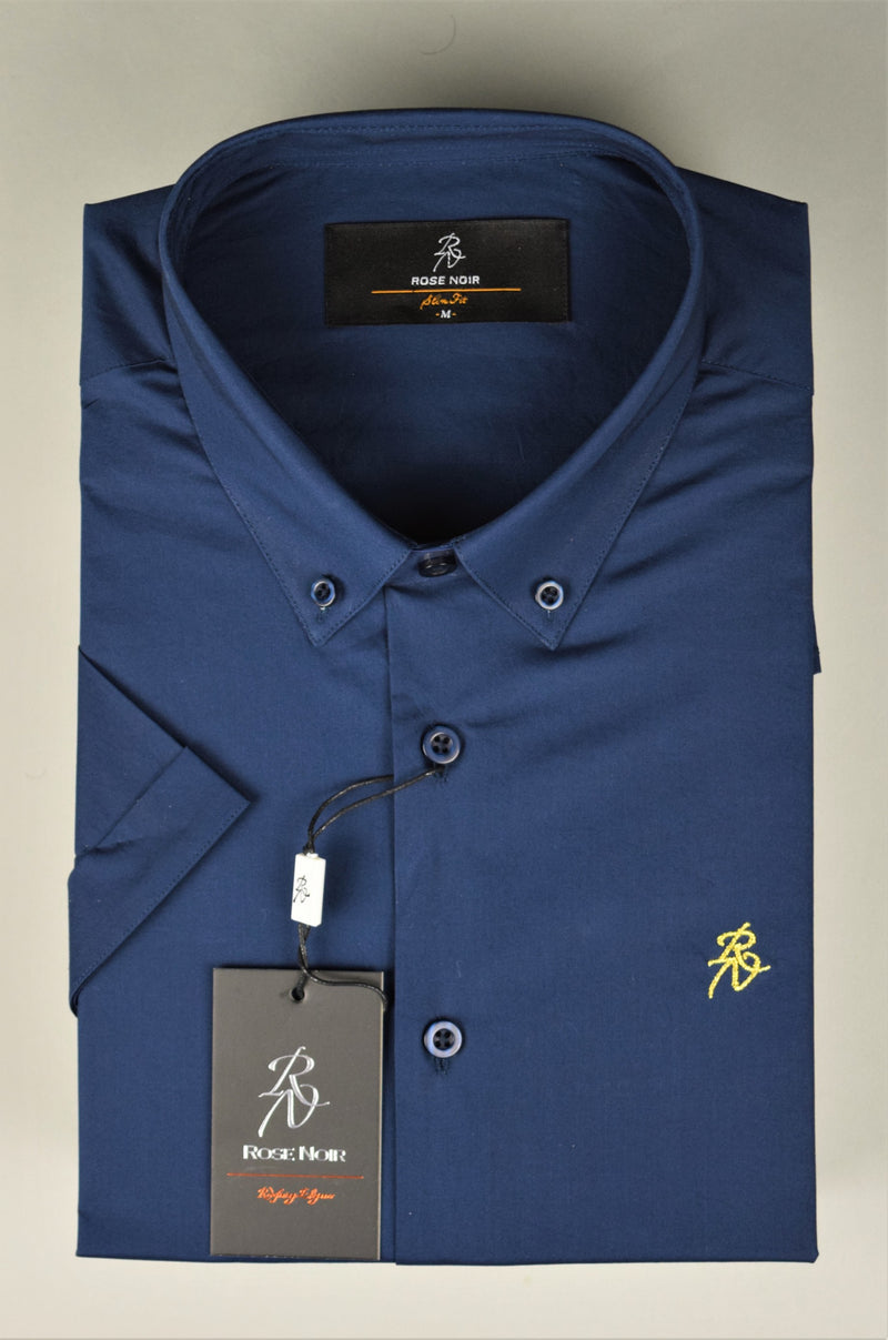 Rose Noir's Navy Blue Short Sleeve Slim Fit Shirt