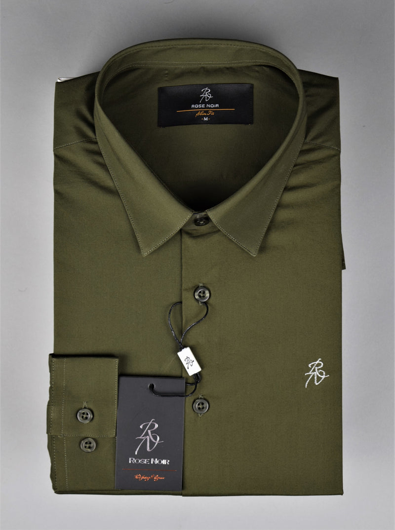 Rose Noir's Khaki Long Sleeve Slim Fit Shirt