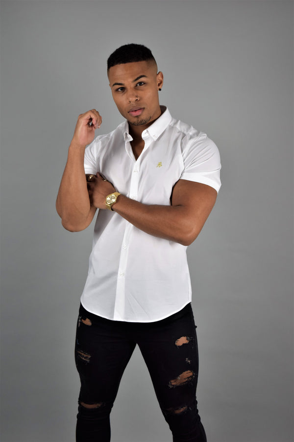 Rose Noir's White Short Sleeve Slim Fit Shirt