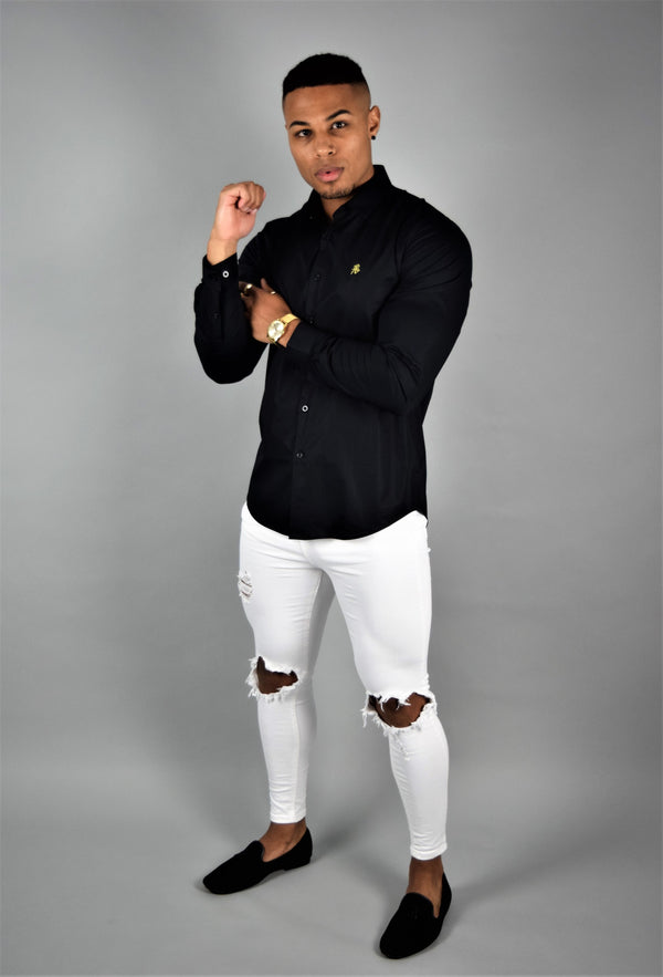 Rose Noir's Black Long Sleeve Slim Fit Shirt