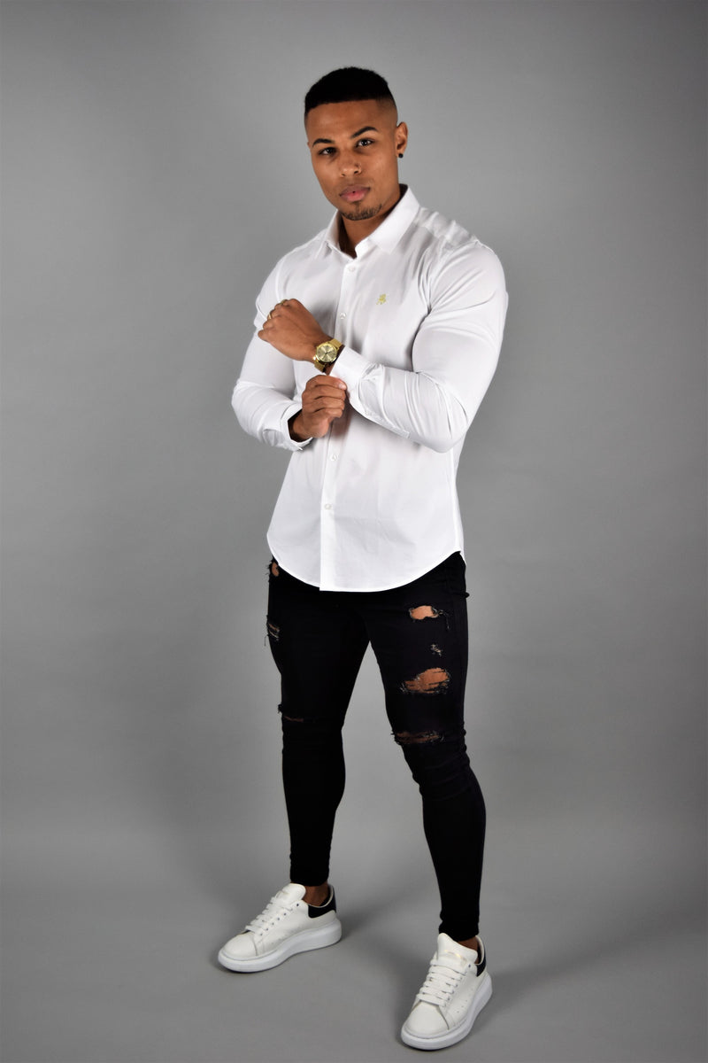 Rose Noir's White Long Sleeve Slim Fit Shirt