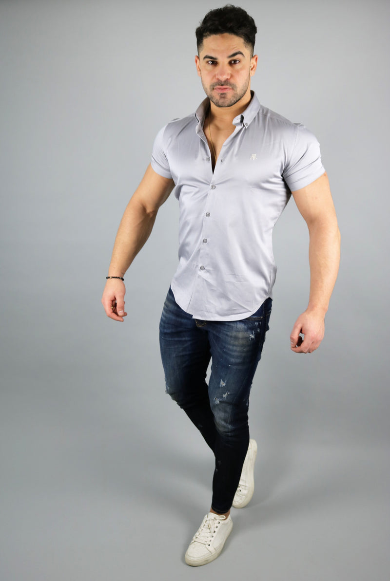 Men's Light Grey Short Sleeve Slim Fit Shirt | Rose Noir