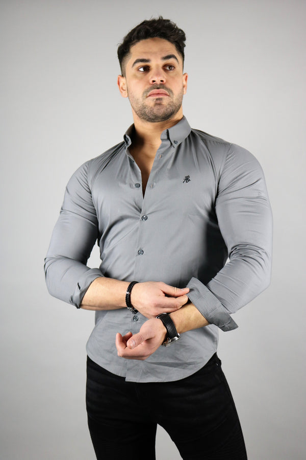 Men's Dark Grey Long Sleeve Slim Fit Shirt | Rose Noir