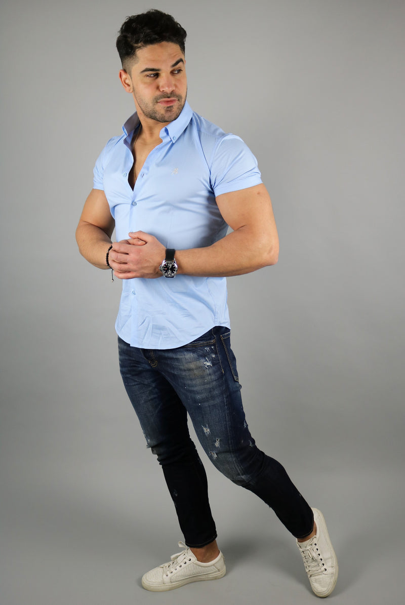 Men's Light Blue Short Sleeve Slim Fit Shirt | Rose Noir