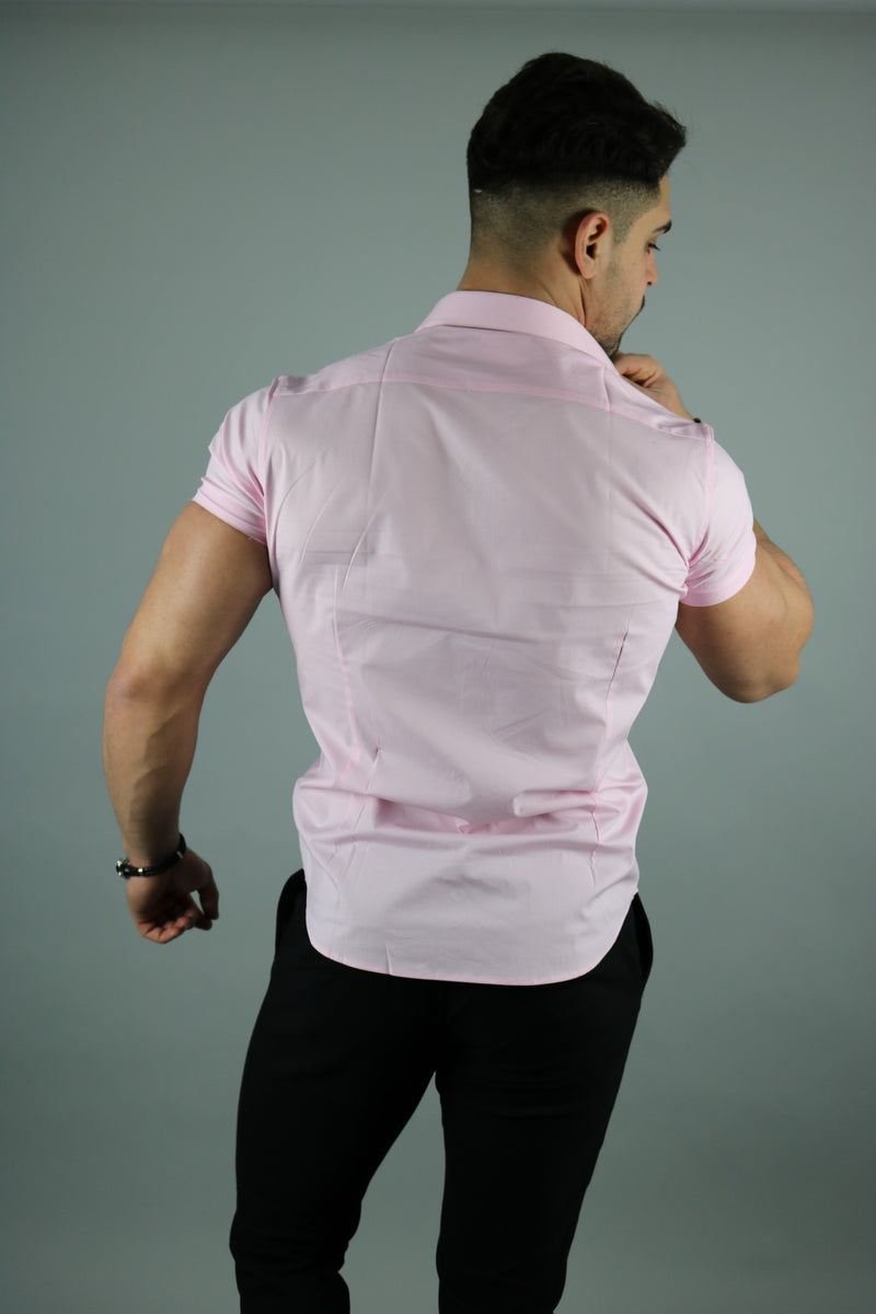 Men's Baby Pink Short Sleeve Slim Fit Shirt | Rose Noir
