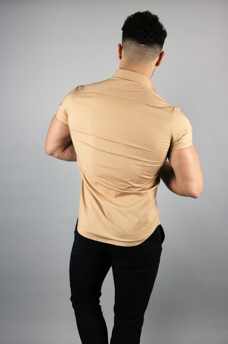 Men's Tan Short Sleeve Slim Fit Shirt | Rose Noir
