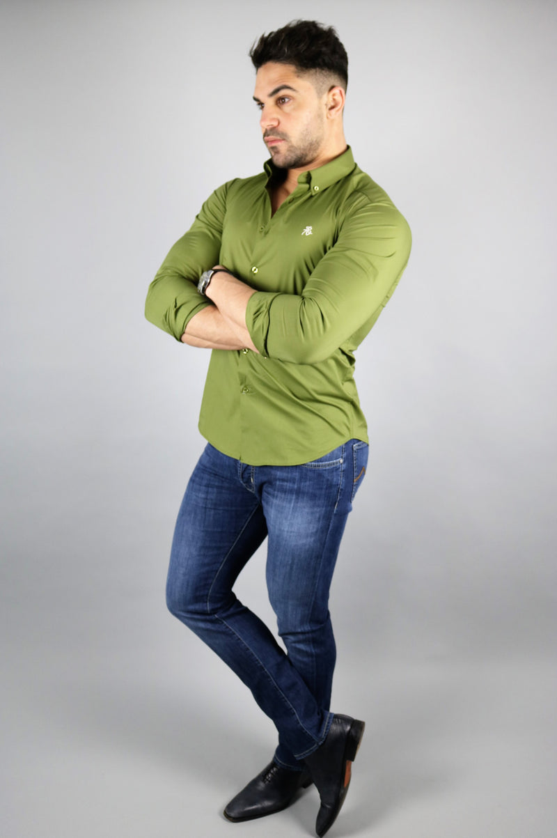 Men's Olive Long Sleeve Slim Fit Shirt | Rose Noir