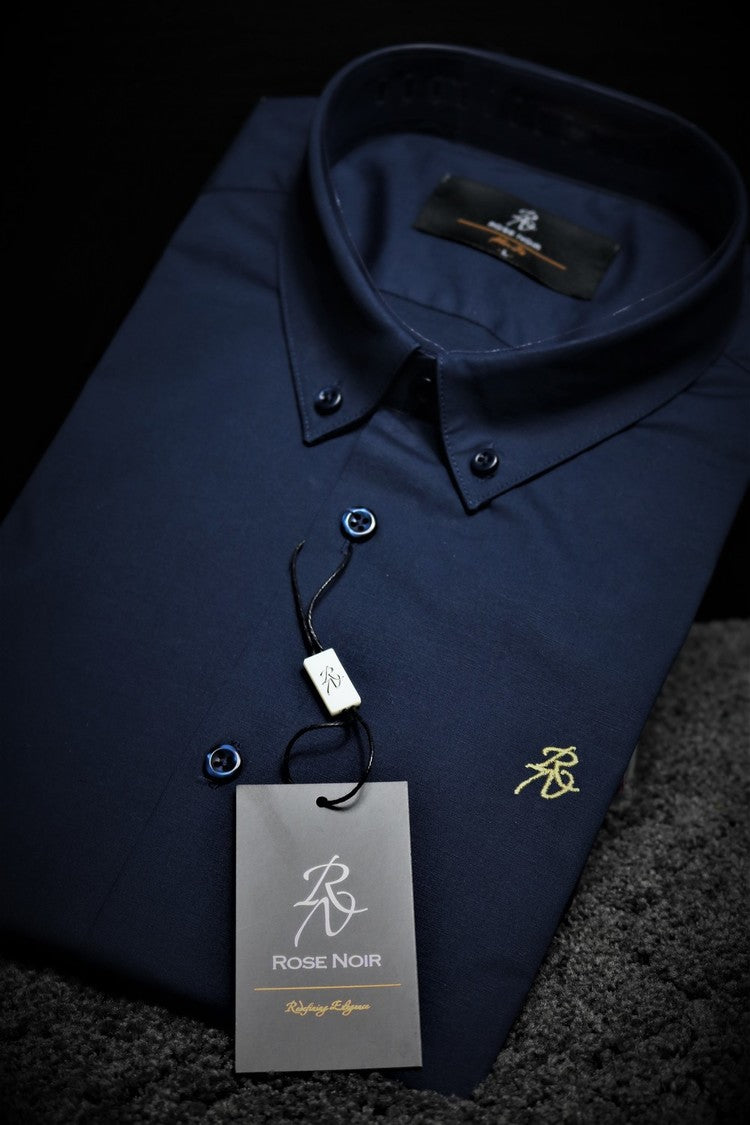 Men's Navy Blue Slim Fit Shirt | Rose Noir