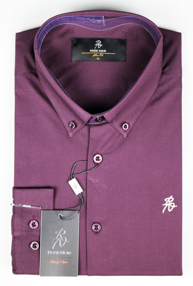 Men's Dark Purple Long Sleeve Slim Fit Shirt | Rose Noir