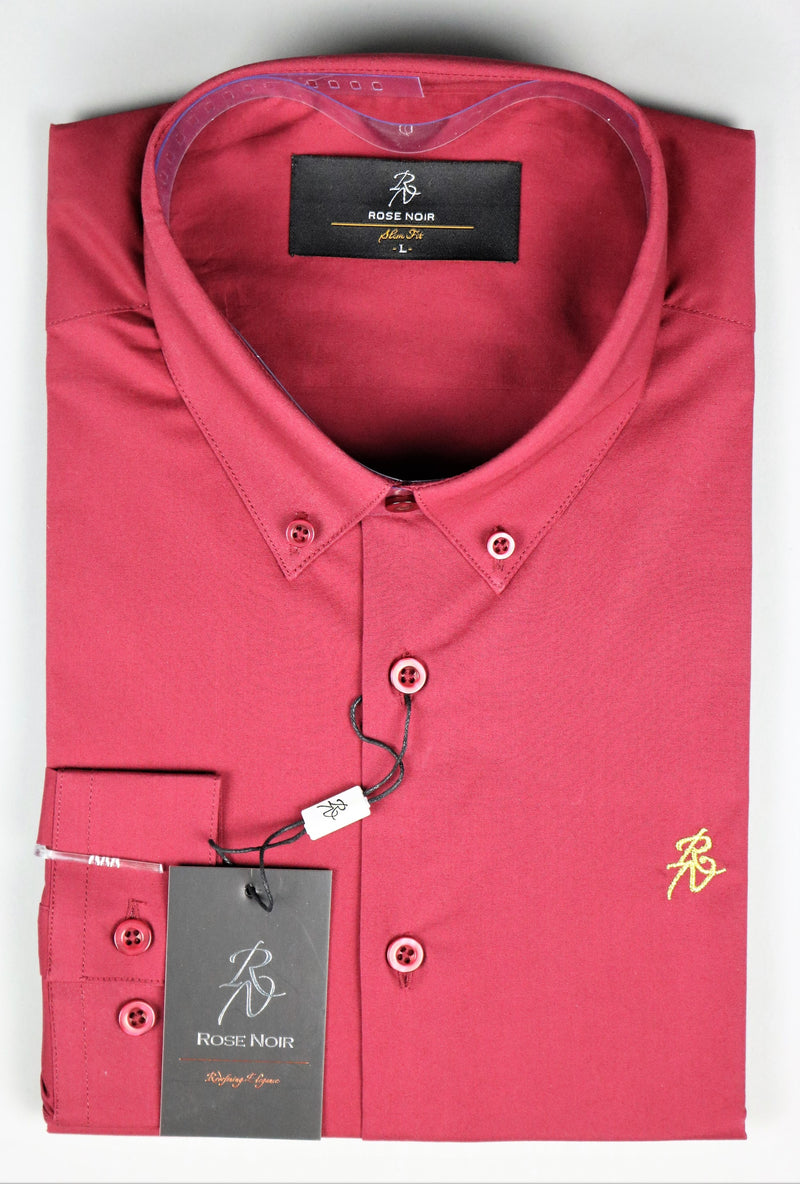 Men's Maroon Long Sleeve Slim Fit Shirt | Rose Noir