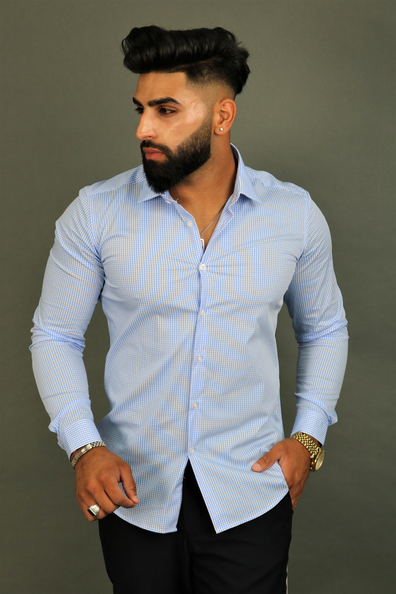 Premium Light Blue Check Shirt