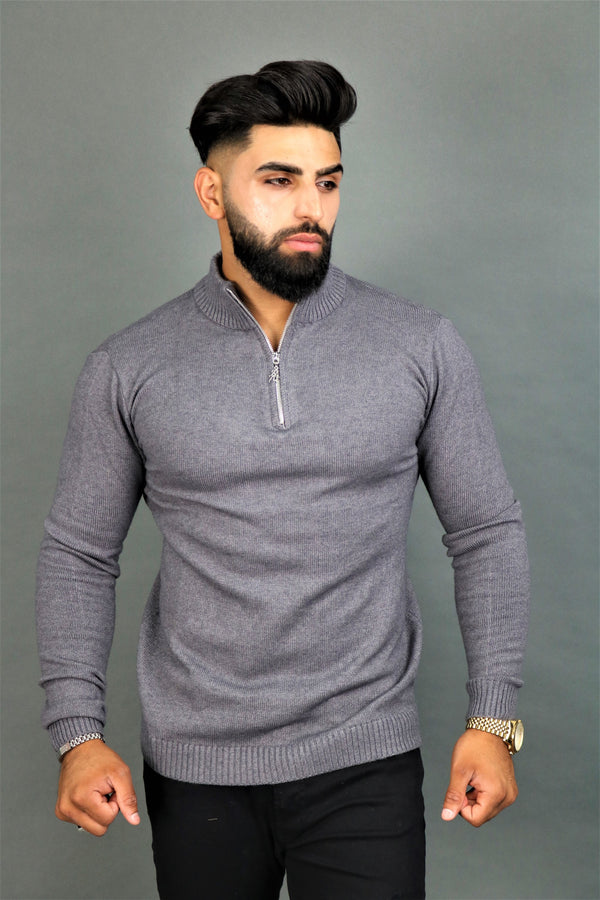 Grey Zipper Jumper