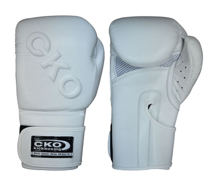 CKO White on White Leather Boxing Gloves