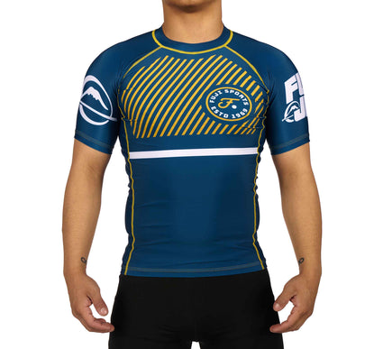 LIMITED EDITION: Script Gold/Blue Short Sleeve Rashguard