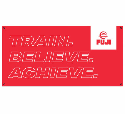 Train Believe Achieve Red Vinyl Banner