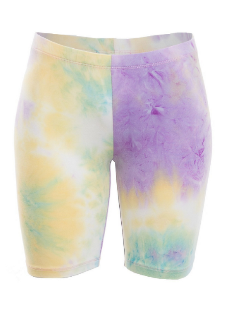 DYE AND TIE BIKER SHORTS