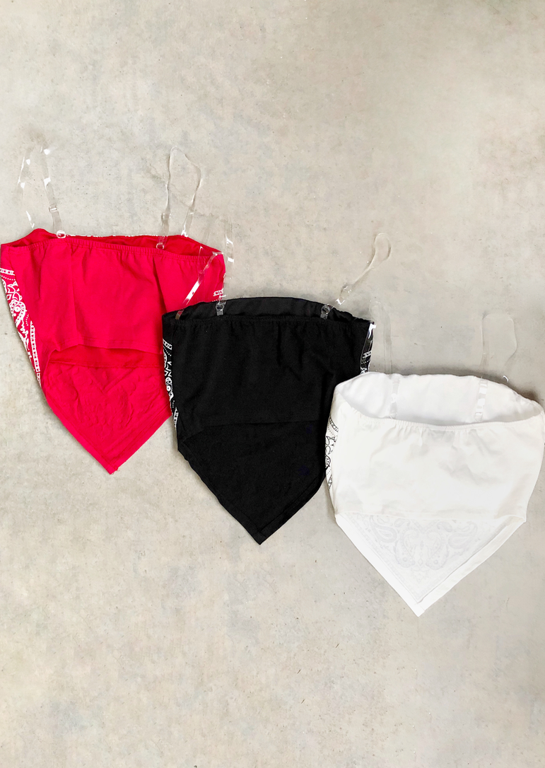 BANDANA CLEAR STRAPS CROP TOP