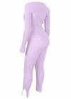 FLIRTING IN LAVENDER RIBBED SET