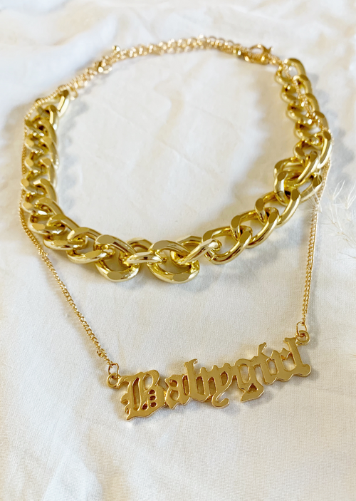 """BABYGIRL"" + LINK CHOCKER NECKLACE"