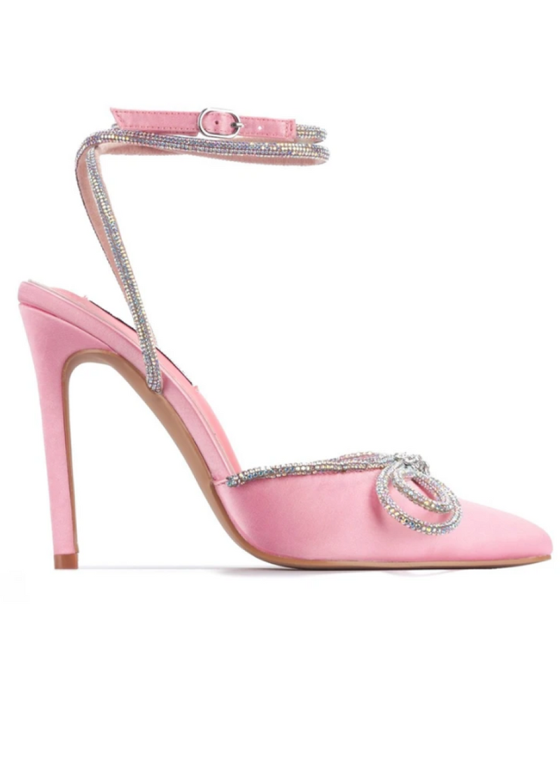 MORE SPARKLE BOW PINK HEELS