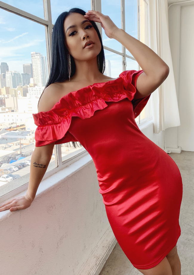 OUT OF MY WAY SATIN RED RUFFLE DRESS