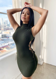 MORE SIDE LACE UP MINI DRESS