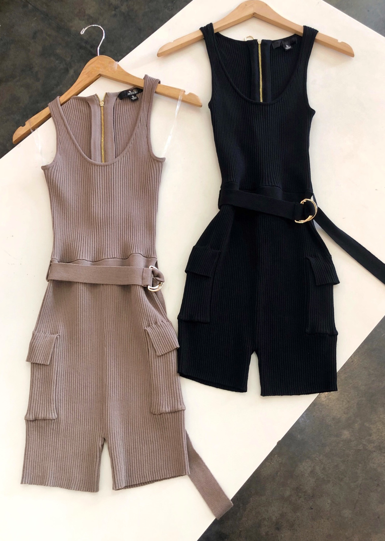 ALWAYS AND FOREVER TAUPE RIBBED ROMPER