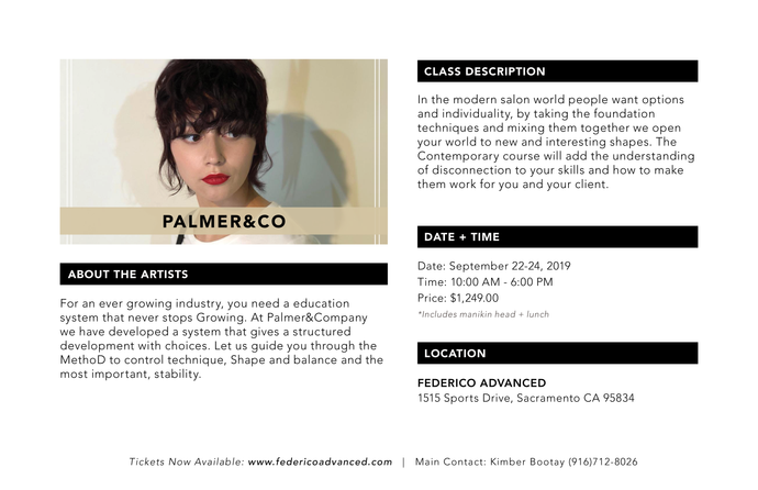 Palmer and Company, Salon Contemporary hands on course Sept 22-24