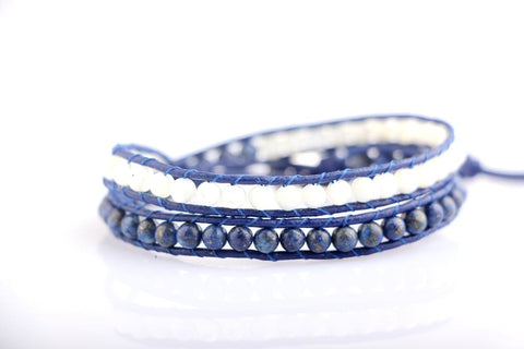 Blue And White Wrap Bracelet
