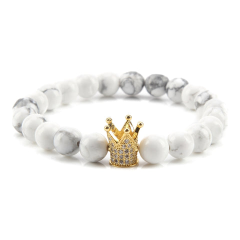 Gold Crown White Rock Bead Bracelet