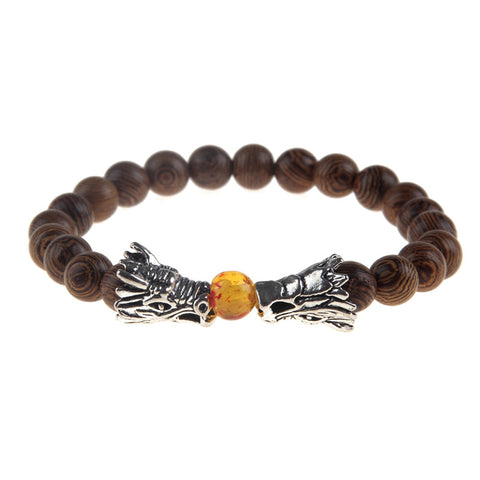 Dragon Breath Wood Bead Bracelet