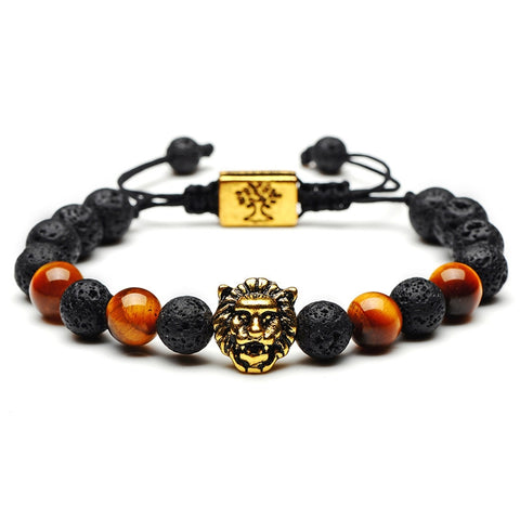 Lion Head Bead Bracelet (Gold)
