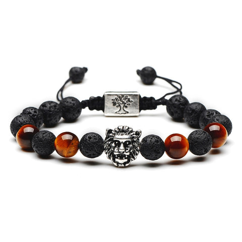 Lion Head Bead Bracelet (Silver)