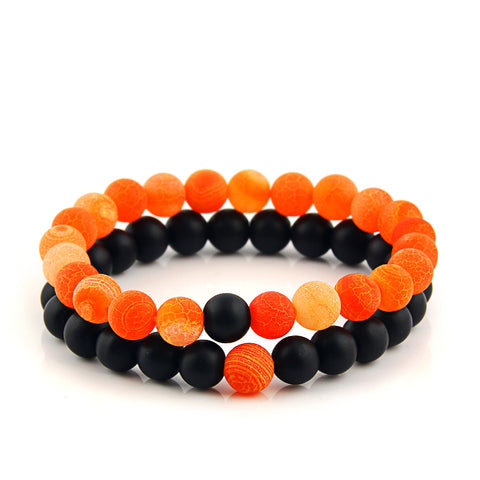 Orange Onyx Bead Bracelet (Pack Set)