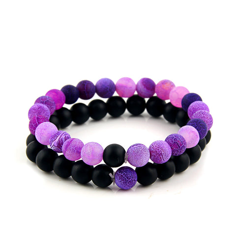 Purple Onyx Bead Bracelet (Pack Set)