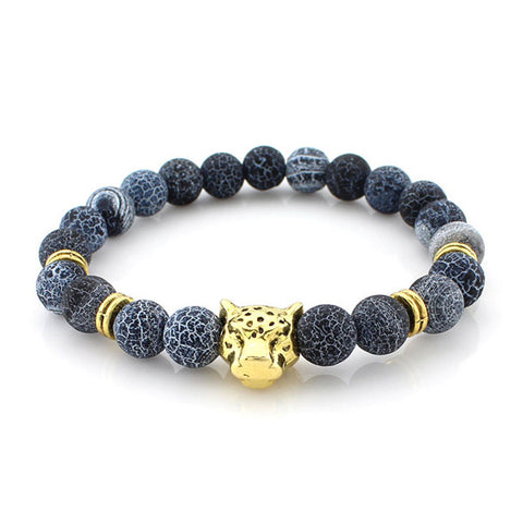Gold Leopard Head Bead Bracelet